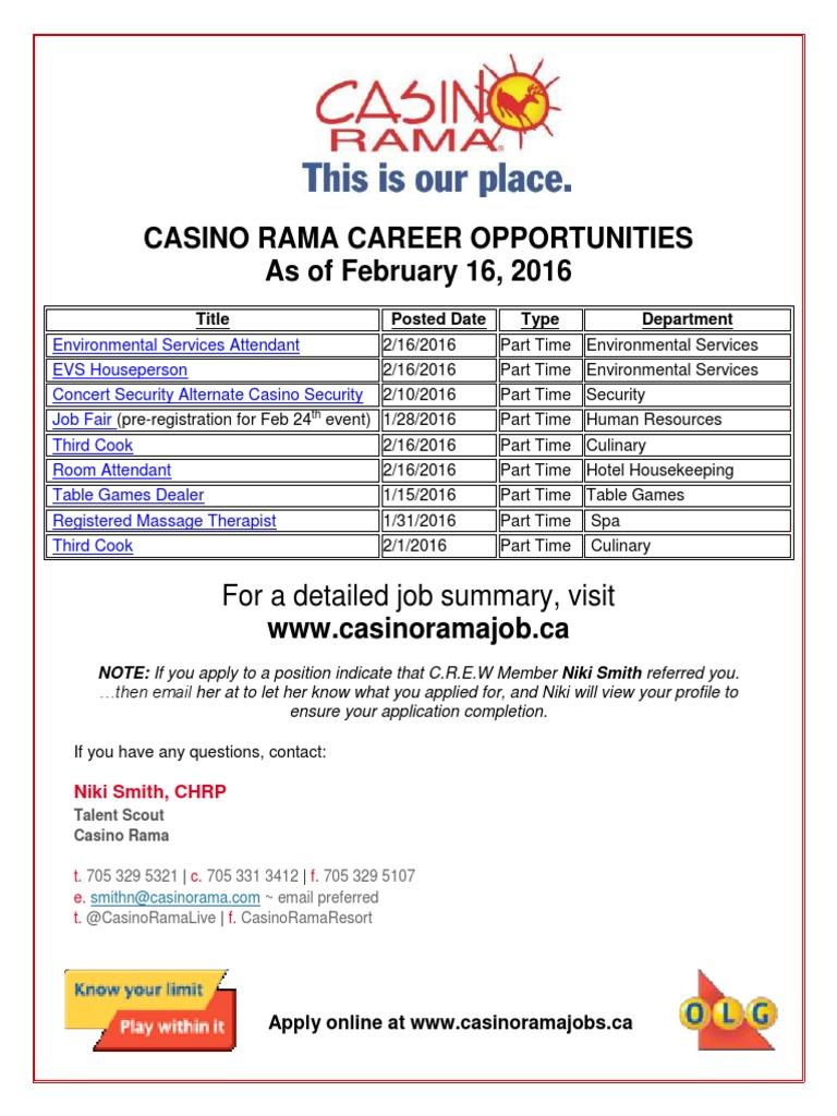 Casino Rama Employment