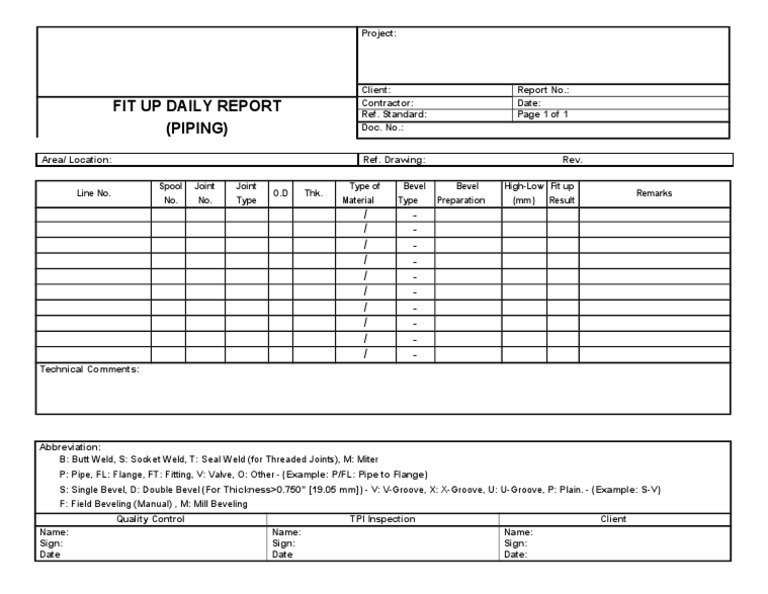 Piping Daily Fit Up Quality Control and Inspection Report Form