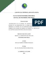ELABORACIÓN DE UN SISTEMA DE GESTIÓN DE LA CALIDAD BASADO EN LOS REQUISITOS DE LA NORMA ISO 9001:2008, PARA MEJORAR EL CONTROL DE LOS PROCESOS PRODUCTIVOS EN LA EMPRESA ENLATADORA DE SARDINA ECUAMINOT S.A.