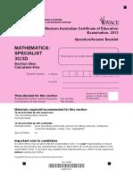 Mathematics Specialist Stage 3C 3D Calc Free 2013