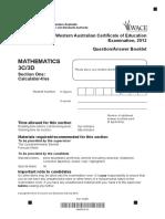 Mathematics Stage 3C 3D Calc Free 2012 Exam