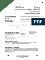 Mathematics Stage 3C 3D Calc Free 2014 Exam
