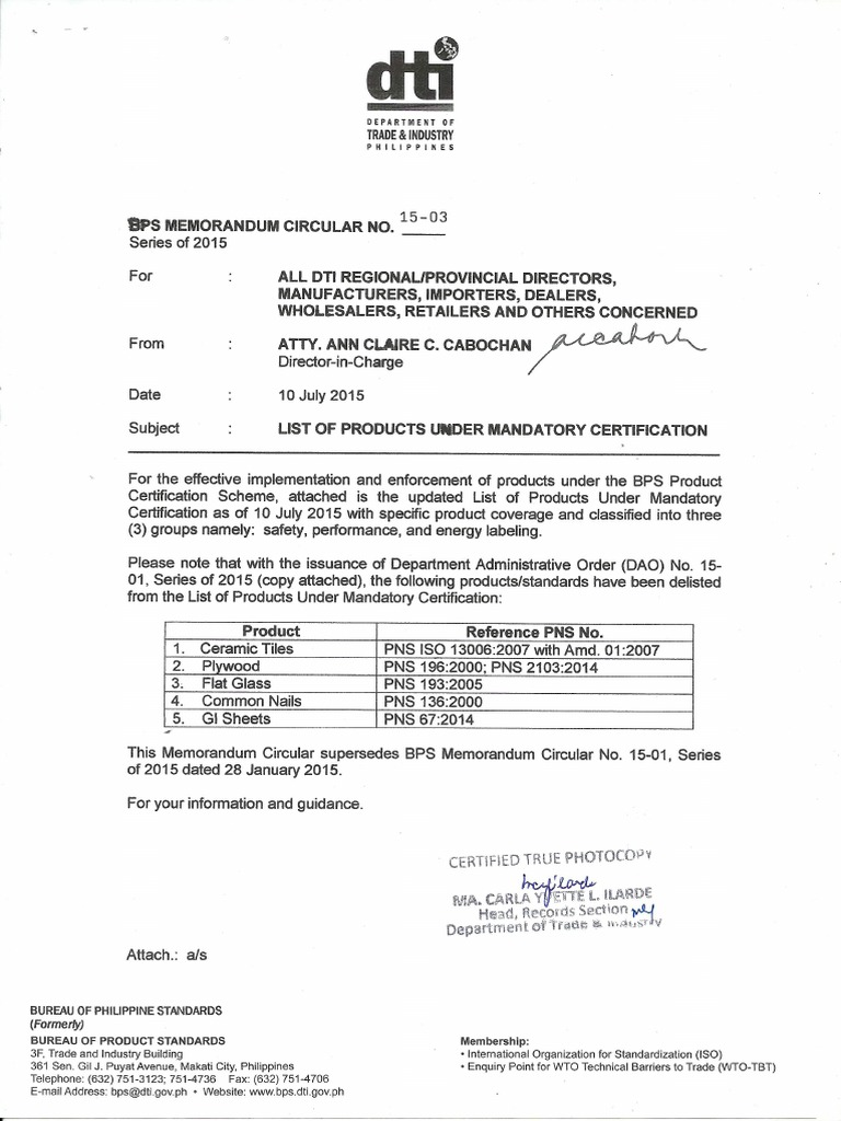 List of Products Under Mandatory Certification-July 2010