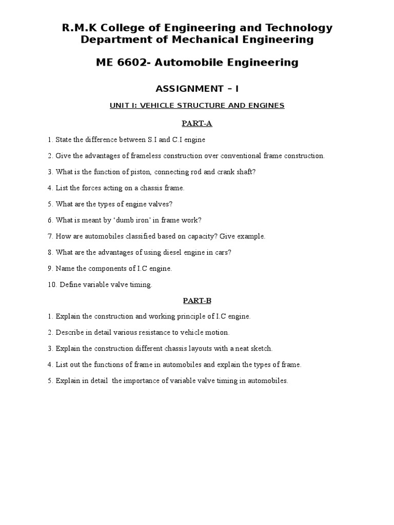Automobile engineering Assignment Questions | Transmission ...