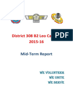 District 308 B2 Leo Cabinet 2015-16 Mid Term Report