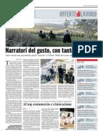 Narratori del gusto, con tanto di tocco - Il Corriere Adriatico del 16 febbraio 2016