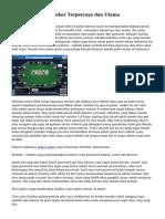 Menyeleksi Situs Poker Terpercaya dan Utama