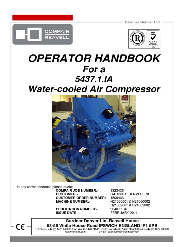 ASC 100-D CompAir 5437 Air Compressor Operator Handbook | Valve |  Occupational Safety And Health