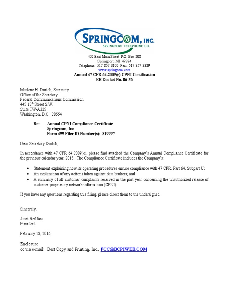 Cpni Annual Certification 2015 Springcomc Federal