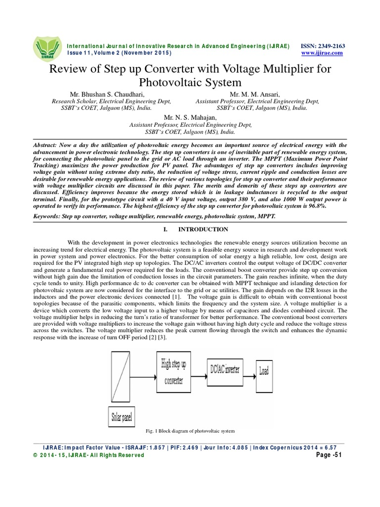 Review Of Step Up Converter With Voltage Multiplier For Photovoltaic Fig 3 Boost Evaluation Board System Power Electronics Photovoltaics