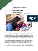 Specificul metodei Montessori