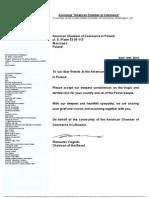 Letter of Condolences Amcham Lithuania