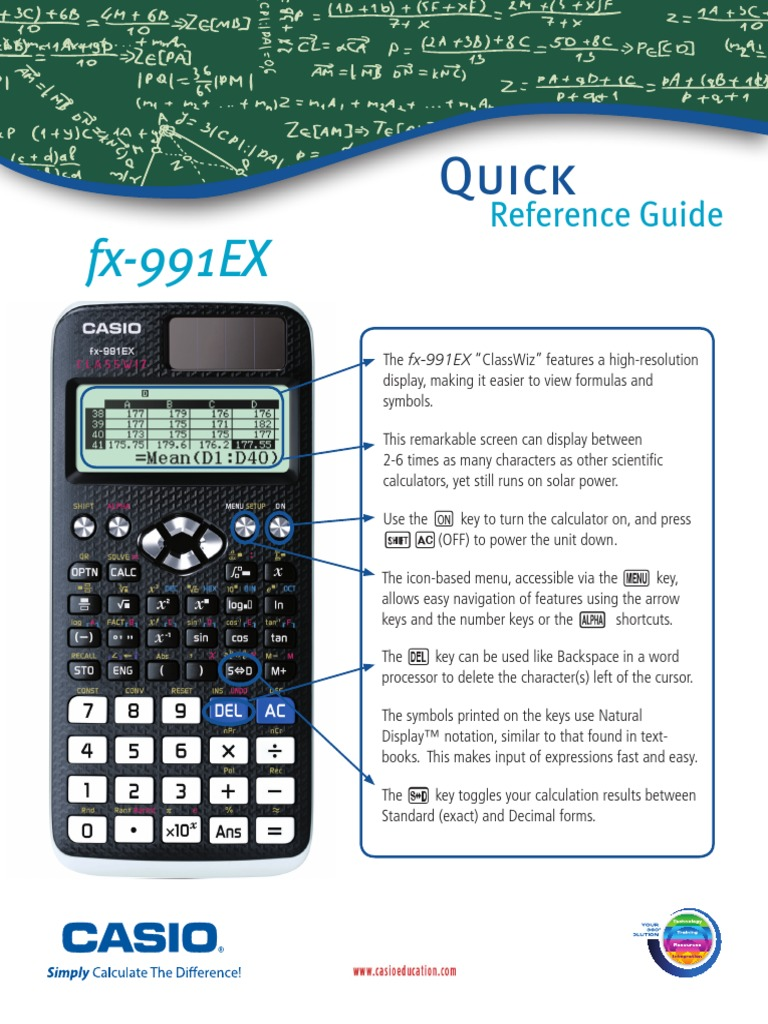 Fx 991ex quick reference guide matrix mathematics complex number ccuart Choice Image