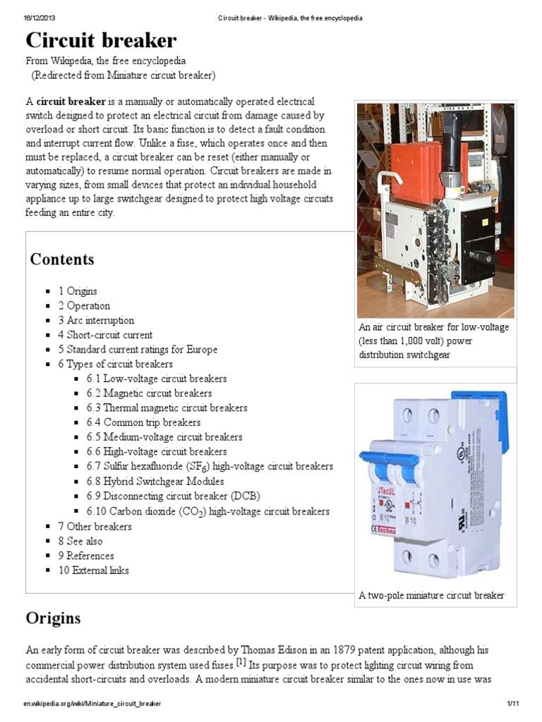 Circuit Breaker - Wikipedia, The Free Encyclopedia | Electric Power ...