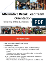 alternative break lead team orientation