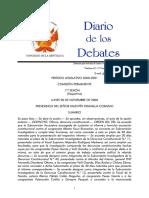 Diario de Debates, Congreso, 20 Noviembre 2000