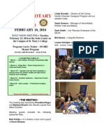 Moraga Rotary Newsletter Feb 16, 2016