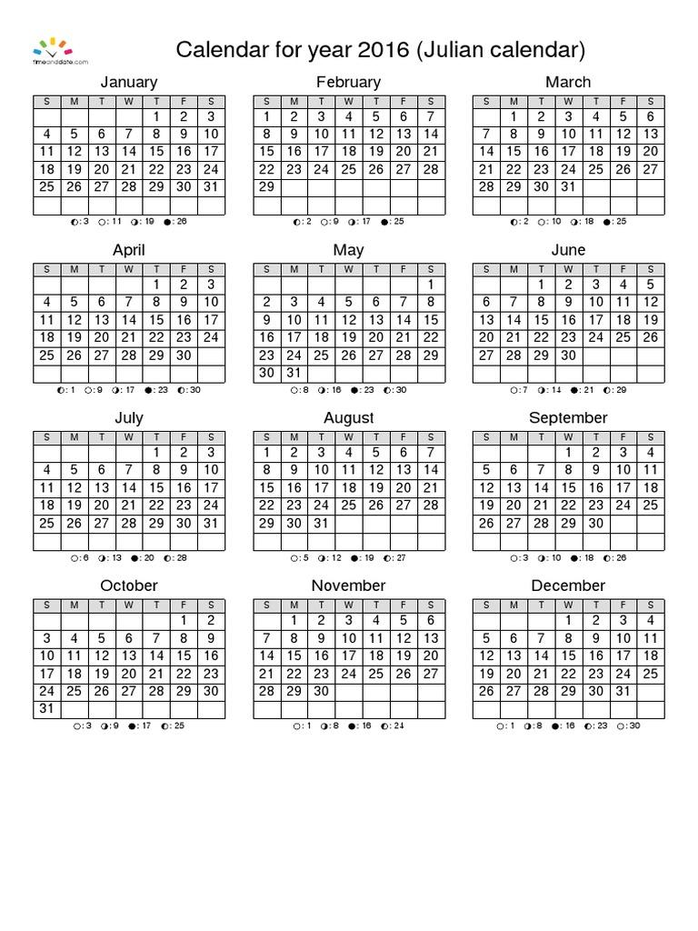 Calendario Juliano 2016