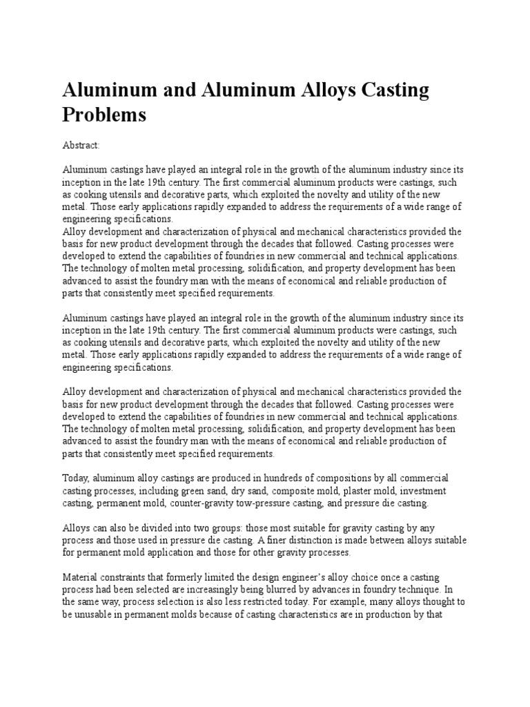 Aluminum and Aluminum Alloys Casting Problems   Casting