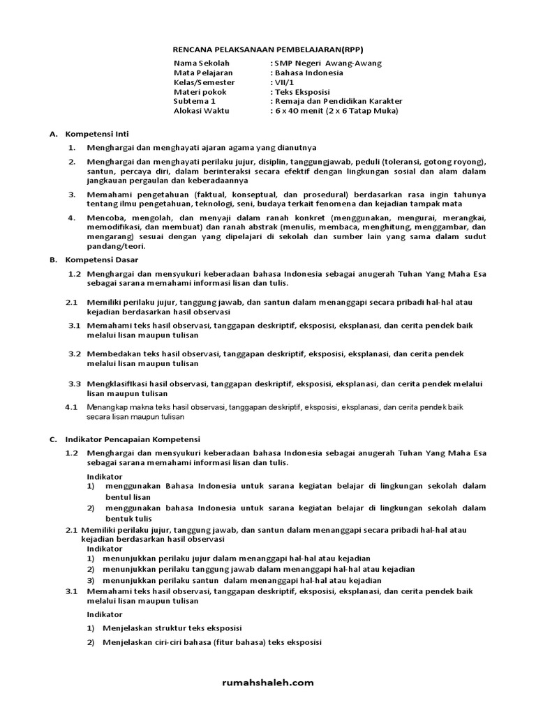 Contoh Rpp Teks Eksposisi Smp Kelas 7