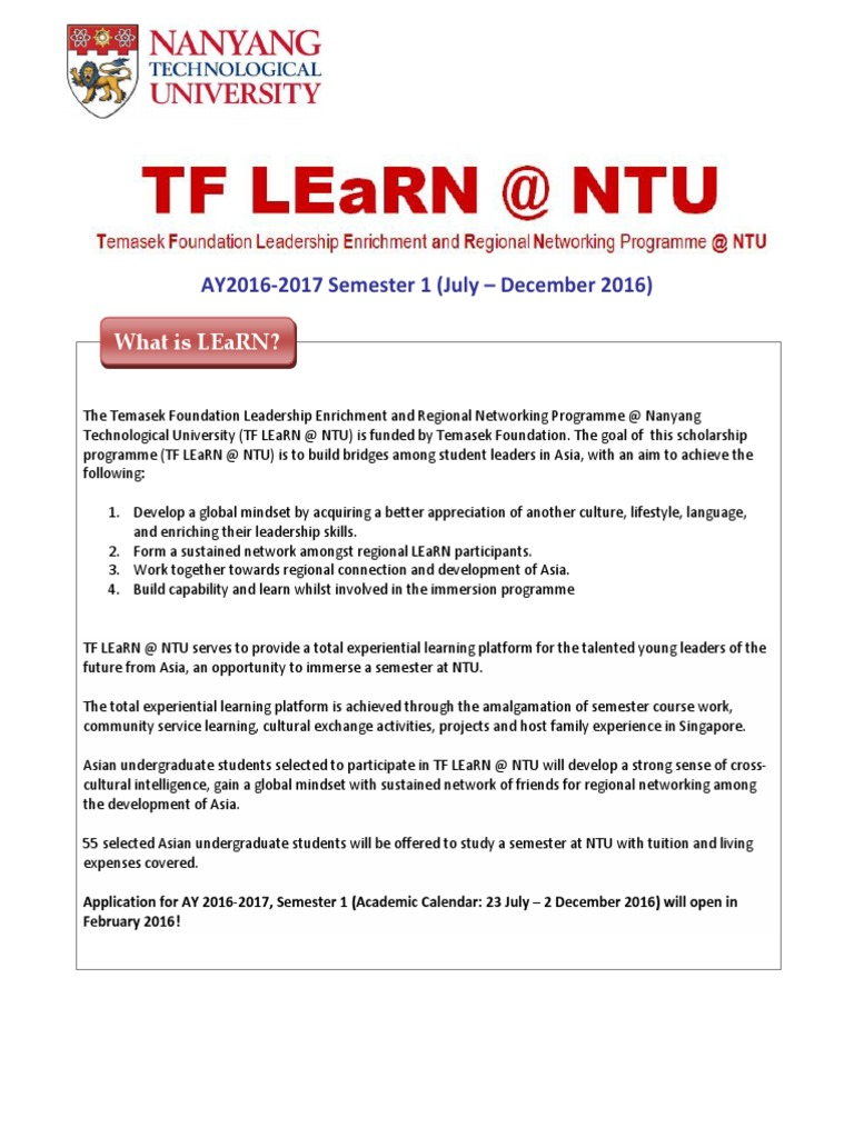 Tf Learn @ Ntu Info Sheet Ay2016 2017 4   Undergraduate