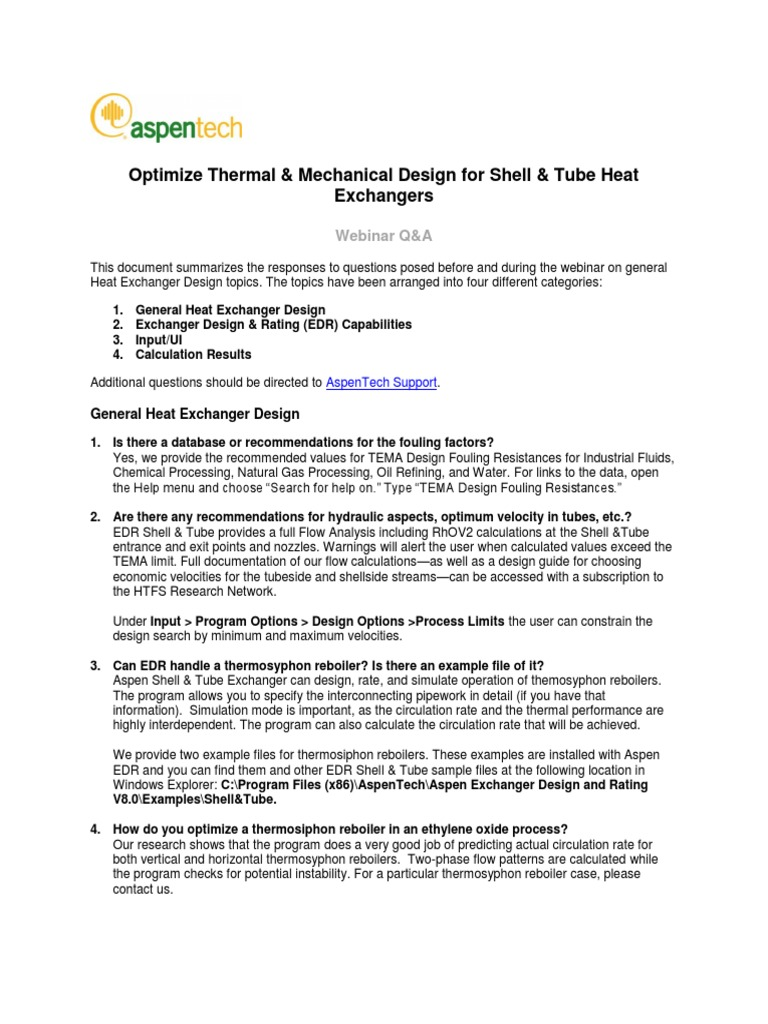 Webinar Faq Shell And Tube Heat Exchangers Heat Exchanger Simulation