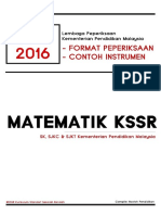 Matematik (KSSR) UPSR 2016 Format Dan Instrumen