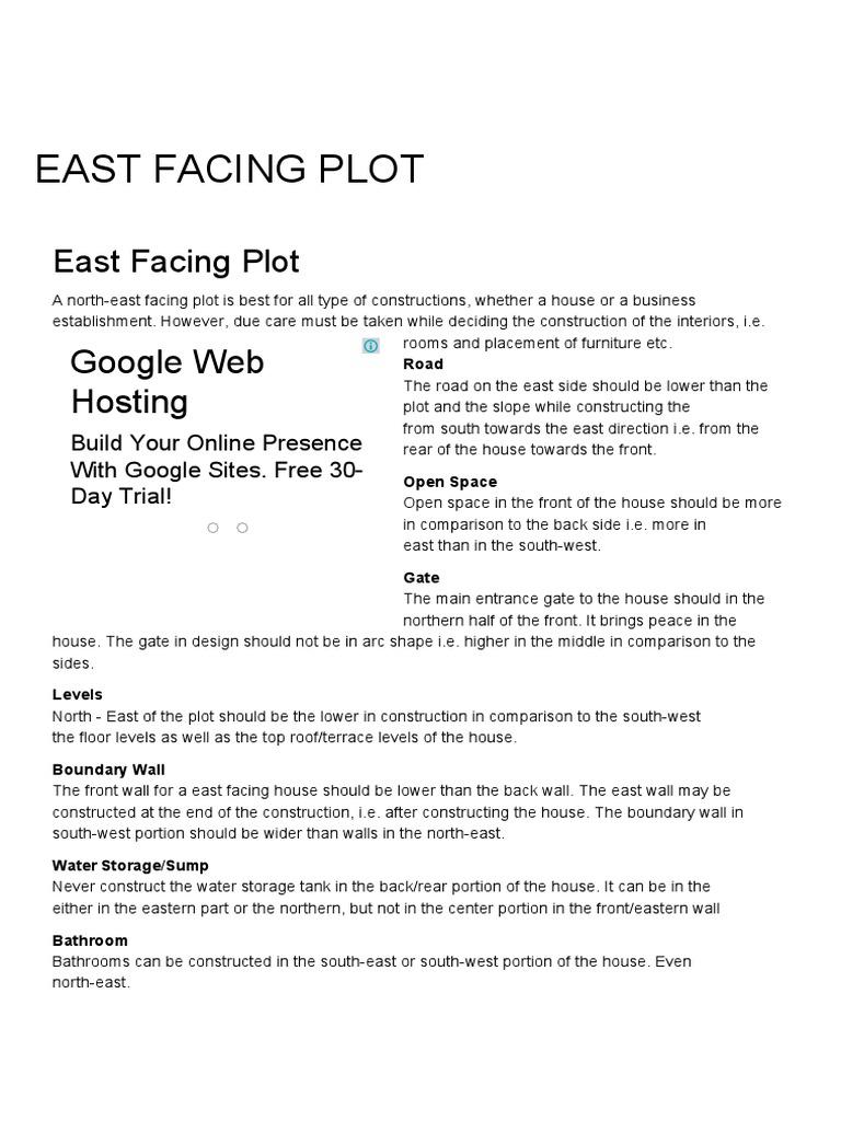Amazing East Facing Plot, East Facing Plot Vastu, Plot Vastu, Vastu, Vastu Shastra    GharExpert.pdf | Feng Shui | Architectural Design