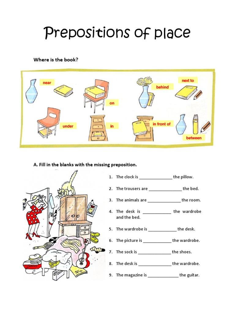 Worksheets Preposition Worksheets prepositions of place worksheet