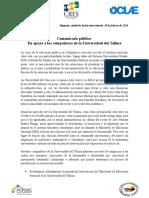 Comunicado público  En apoyo a los compañeros de la Universidad del Tolima