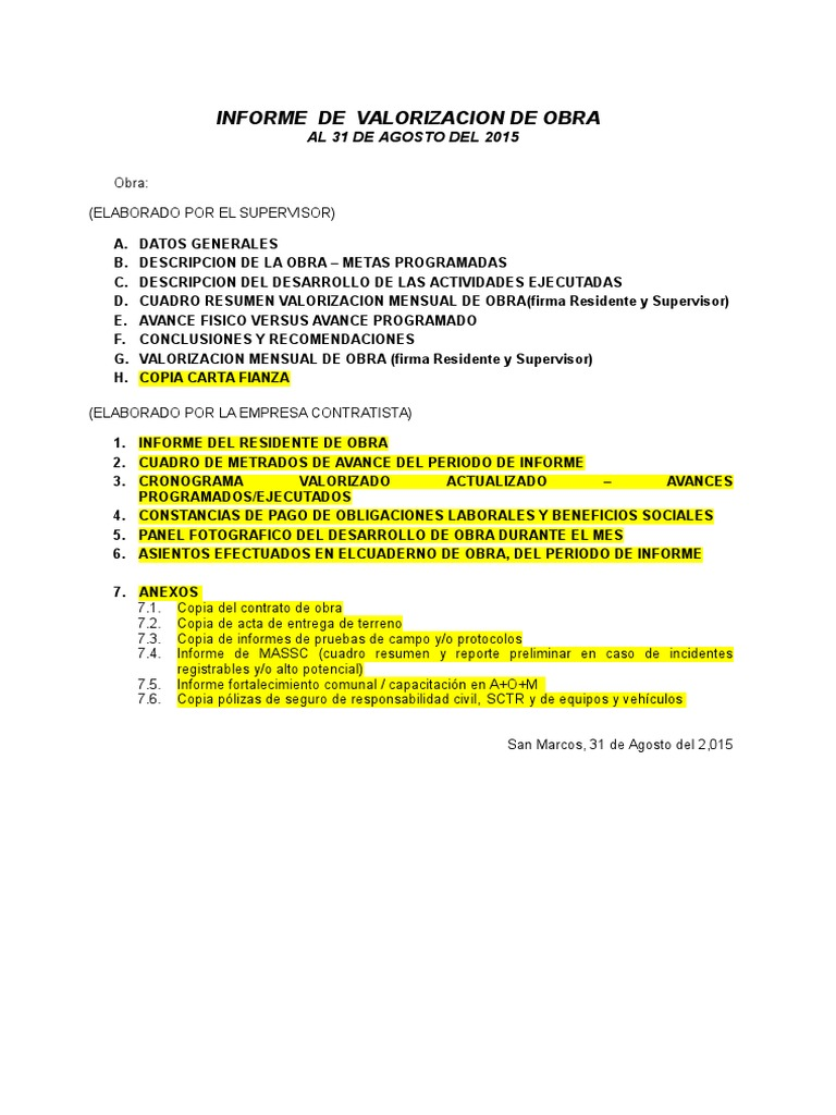 Plantilla Informe Mensual de Valorizacion de Obra