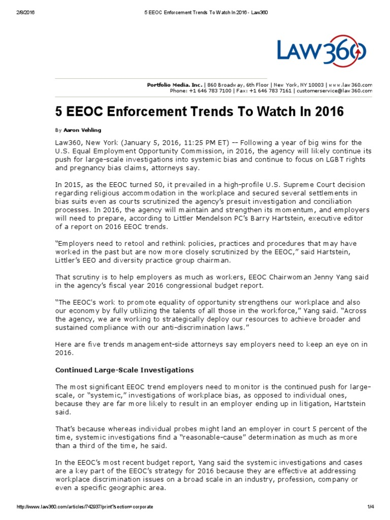 5 EEOC Enforcement Trends to Watch in 2016 - Law360   Equal