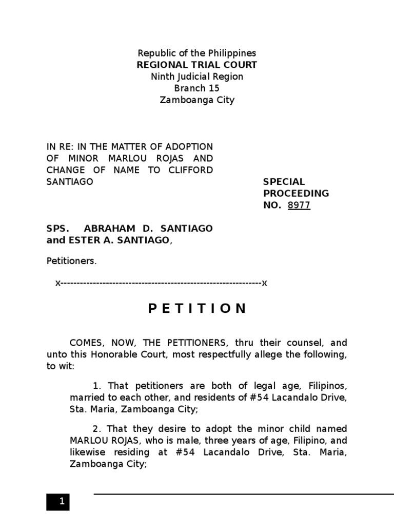 Sample petition for adoption adoption child custody spiritdancerdesigns Images