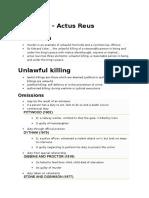Homicide - Actus Reus