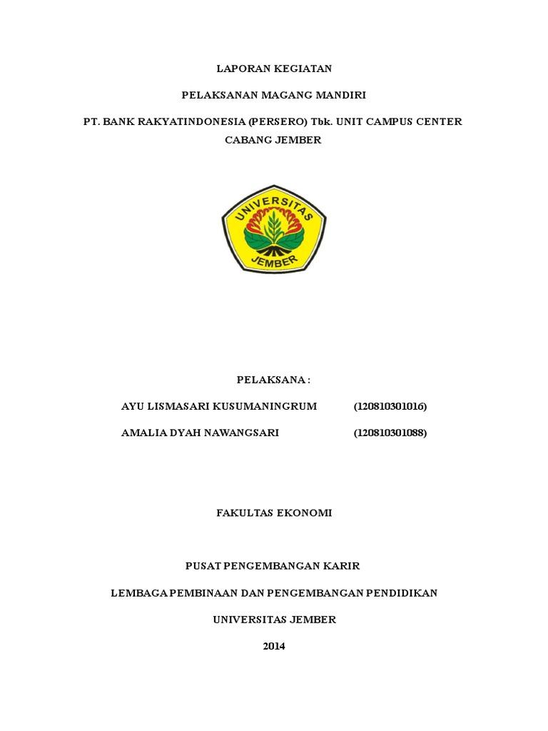 Contoh Laporan Magang Bri 2014