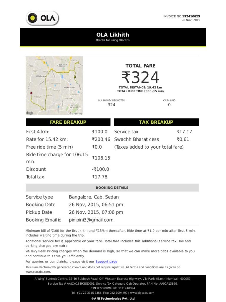 cab invoice format
