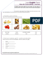 Food in Britain Video Uk-exercises