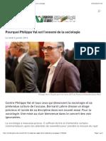Les Inrocks - Pourquoi Philippe Val Est l'Ennemi de La Sociologie