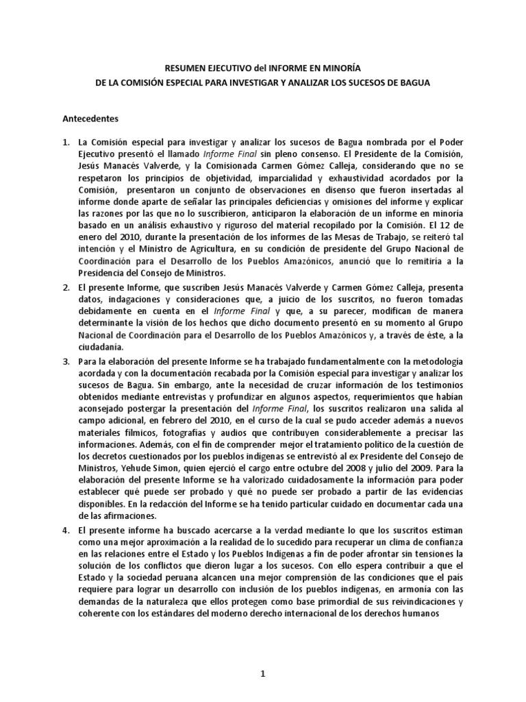 RESUMEN EJECUTIVO del INFORME EN MINORÍA BAGUA