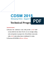 Technical Programme of CDSM 2015