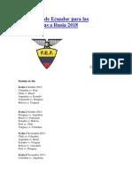 Calendario de Ecuador Para Las Eliminatorias a Rusia 2018