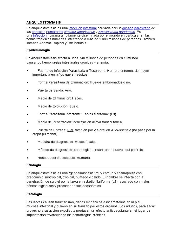 infección parasitaria intestinal crónica