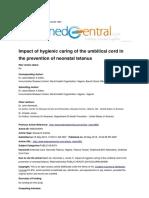 Higienitas Tali Pusat dan Tetanus Neonatorum