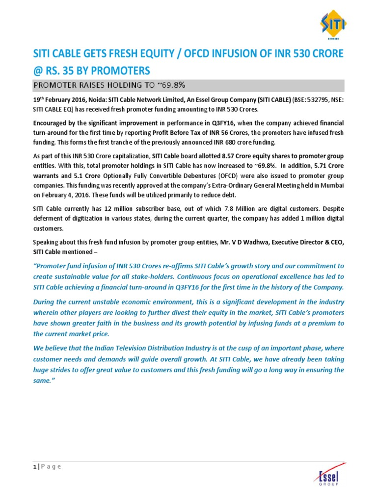 Siti Cable gets Fresh Equity / OFCD Infusion of INR 530 Crore @ Rs