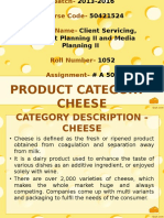 Category study of Cheese in a retail store