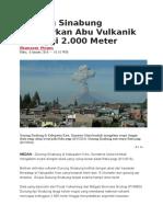 Gunung Sinabung Semburkan Abu Vulkanik Setinggi 2