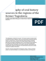 Bibliography of oral history sources in the regions of the former Yugoslavia