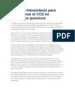 Imitan La Fotosíntesis Para Transformar El CO2 en Productos Químicos