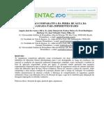 Avaliação comparativa da perda de água da argamassa para diferentes bases