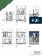 Vivienda - Plano - A-02 - Cortes a, b, c, d y Elevación